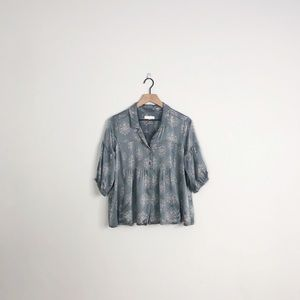 Odd Molly | gray silk short sleeve charm blouse